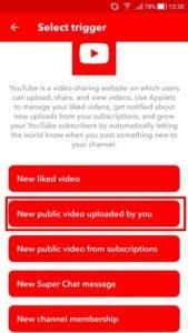 新しく動画をアップしたらを選択